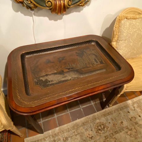 Chinoiserie Tray Top Table with Fretwork on Sides