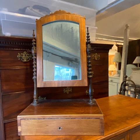 Antique Bobbin Column Table Top Mirror with Drawer