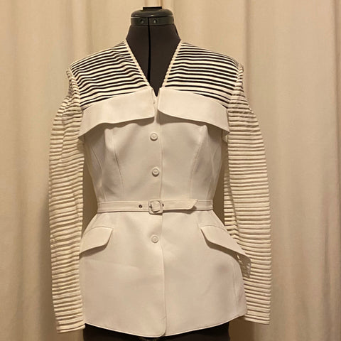 Thierry Mugler White Belted Jacket
