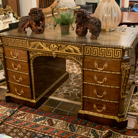 Amazing Carved Partners Desk with Gilt Embellishments