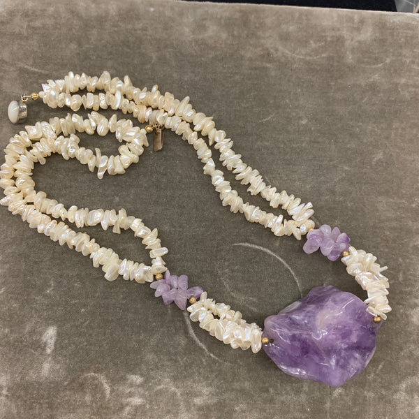 Amethyst & Shell Necklace