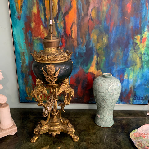 Antique Gilt ormolu 3 Leg Lamp