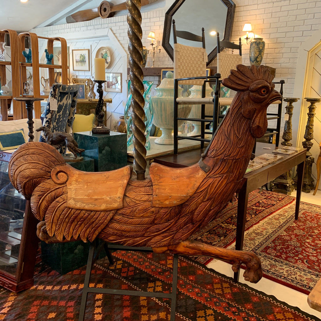 Antique Hand Carved Carousel Rooster