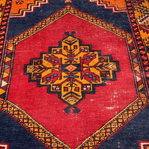 "Antique Orange, Red, Navy Persian Rug 3'7"" x 6'3"""
