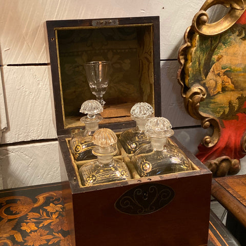 Banded Inlaid Tantalus Box with 4 Glass Decanters