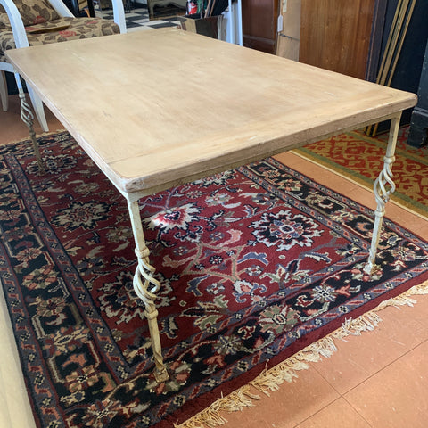 Beige Wood Top Coffee Table on Spindle Leg Metal Base
