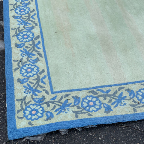 Blue Floral Border Rug wth Pale Center