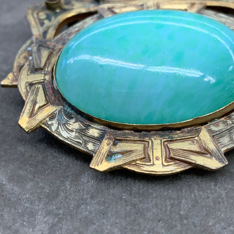 Bronze Brooch with  Green Stone