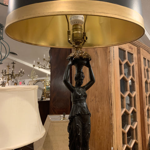 Bronze Figural Lamp of Woman
