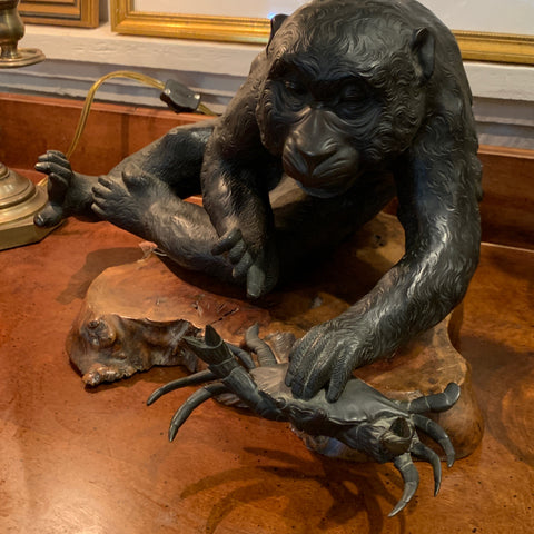 Bronze Monkey and Crab Sculpture