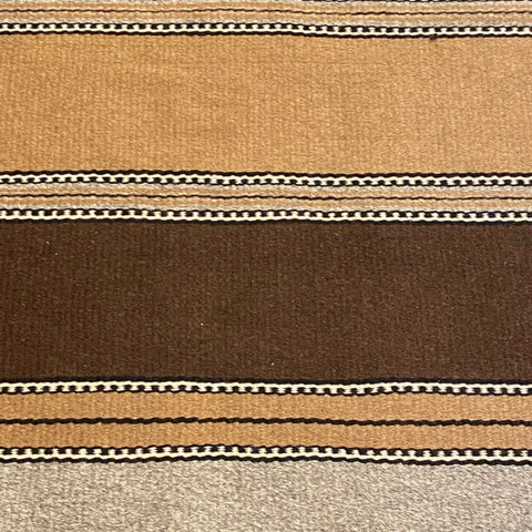 "Brown, Tan, Grey & Black Woven Stripe Blanket Rug 2'7"" x 5'"