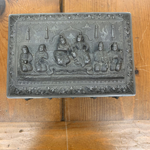 Burmese Silver Box with Repousse Deity Figures, as is
