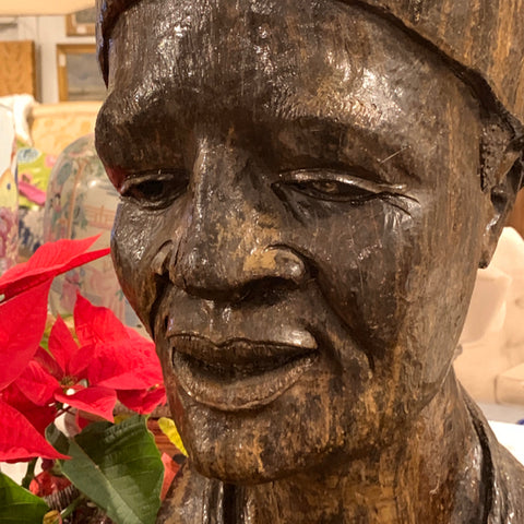 Carved Wood African Bust