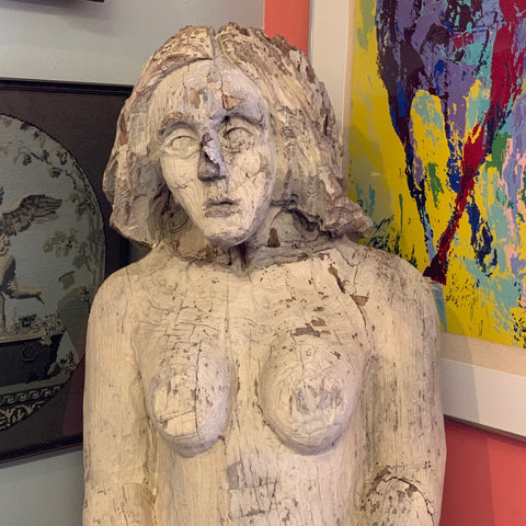 Carved Wood Woman, Painted & Weathered