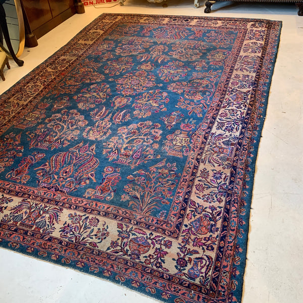 Chinese Rug with Floral & Pottery Motifs, Blue & Pink Colors