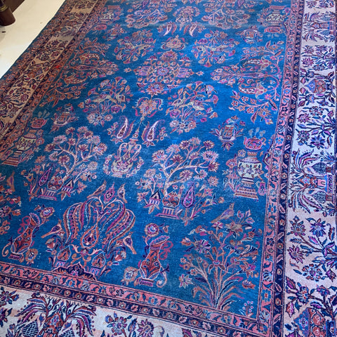 Chinese Rug with Floral & Pottery Motifs, Blue & Pink Colors 9' x 12'
