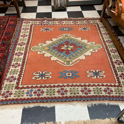 "Coral Turkish Kazak Carpet with Central Diamond, 5'4"" sq"