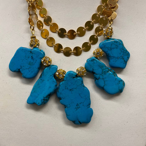 Costume Jewelry Turquoise Style Stones on Chain