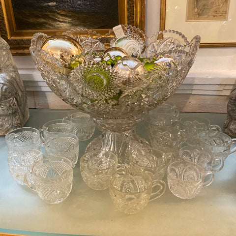 Crystal Punch Bowl & Cups