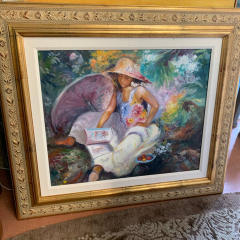 Figural painting by Juan Rosell in Gold Frame