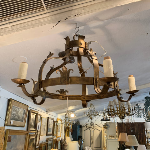Gilt Wrought Iron Tudor Style 5 Arm Chandelier