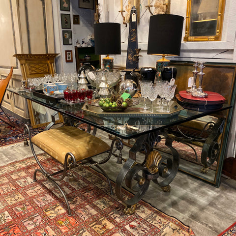Glass top Dining Table with Metal Shell Base
