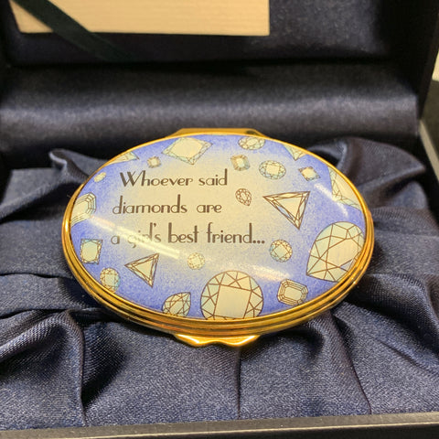 Halcyon Days English Enamel Oval Diamond Box