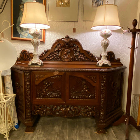 Italian Carved Walnut Sideboard, 19th Century