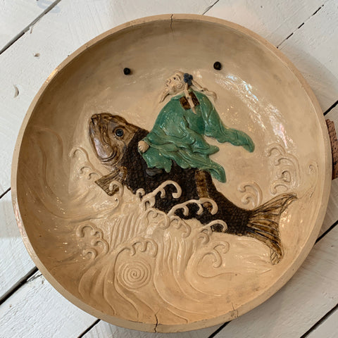 Japanese Platter with Man Riding a Fish
