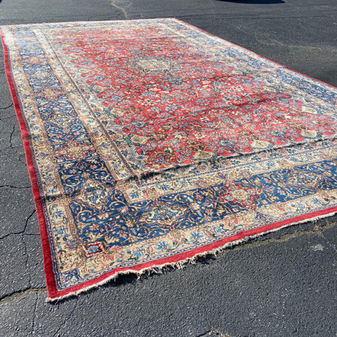 Kerman Red, Blue Grey Rug 11' x 19'7""