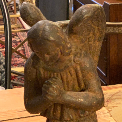 French cast iron angel statue