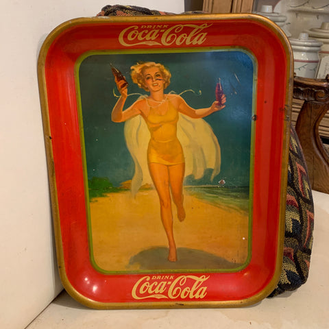 Metal Coca Cola Tray Featuring Girl on the Beach