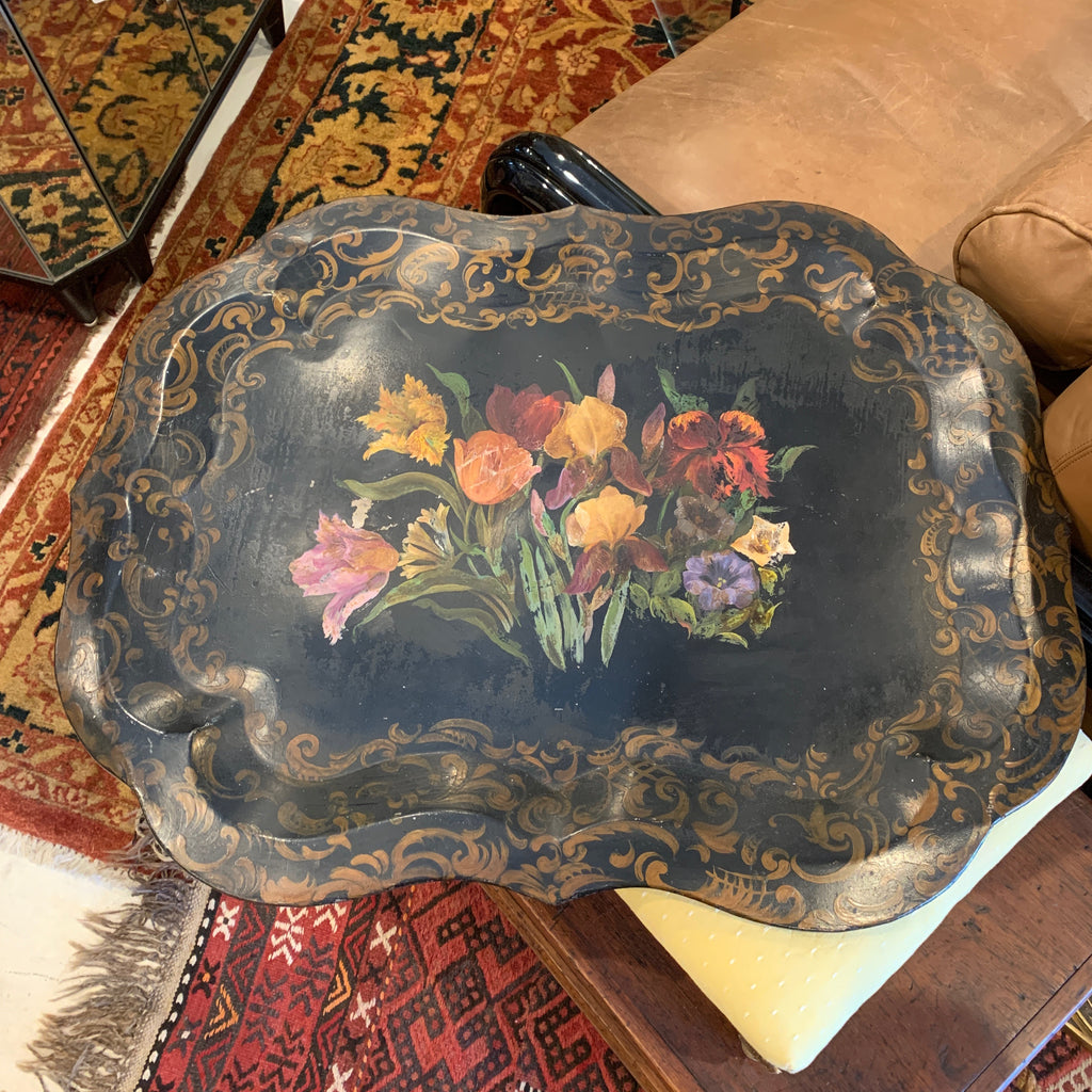 Mid Century Black Tole Painted Tray with Flowers