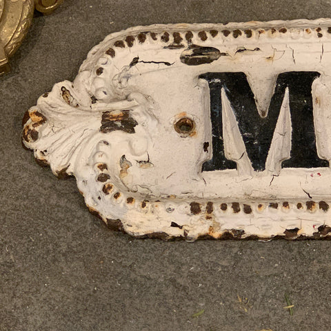 Murdock Road White Painted Iron Sign
