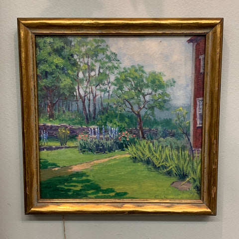 Oil on Canvas Garden Landscape by C.L.Nichols