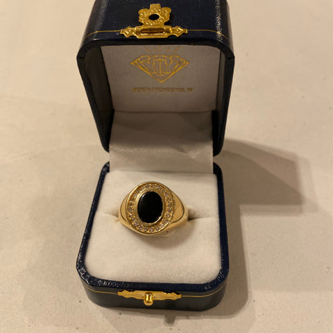 Onyx & Diamonds 14k Men's Ring