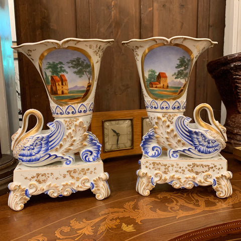 Pair of Bavarian c1860's Cornucopia Vases