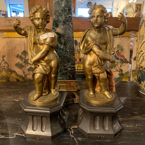 Pair of Bronze Cherubs on Marble Bases