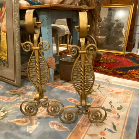Pair of Gold Metal Scroll Andirons