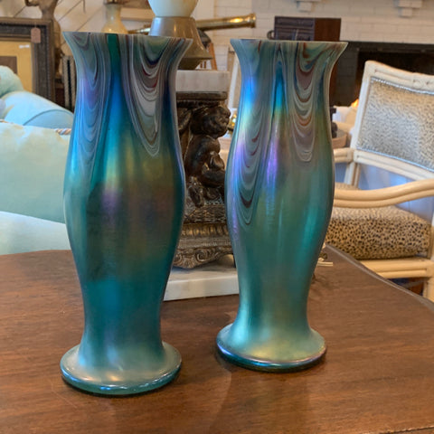 Pair of Green Favrile Glass Vases