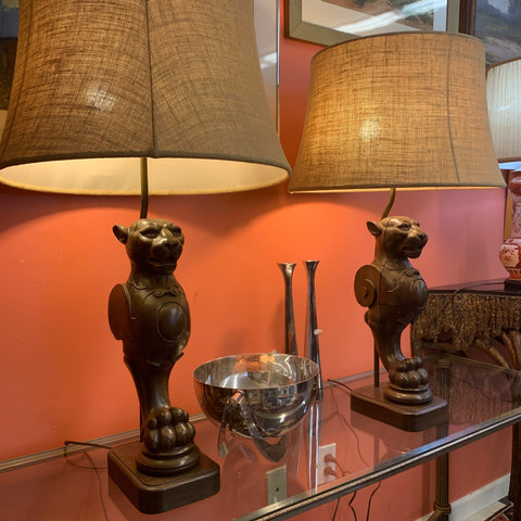 Pair of Griffin Carved Wood lamps