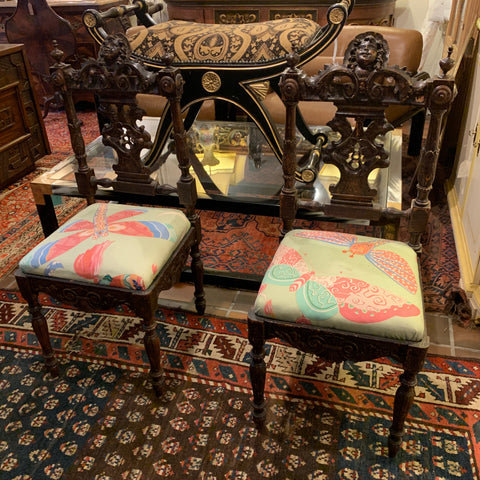 Pair of Ornate Carved chairs with Dragonfly Paper