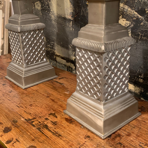 Pair of Silver Tone Obelisks