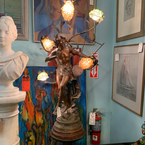 Patinated Spelter Figural lamp on Stand of Auguste Moreau's L'Improvisateur