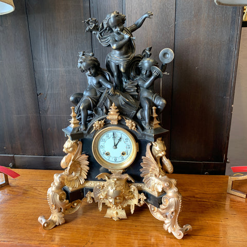 Renaissance Revival Bronze & Gilt Mantle Clock