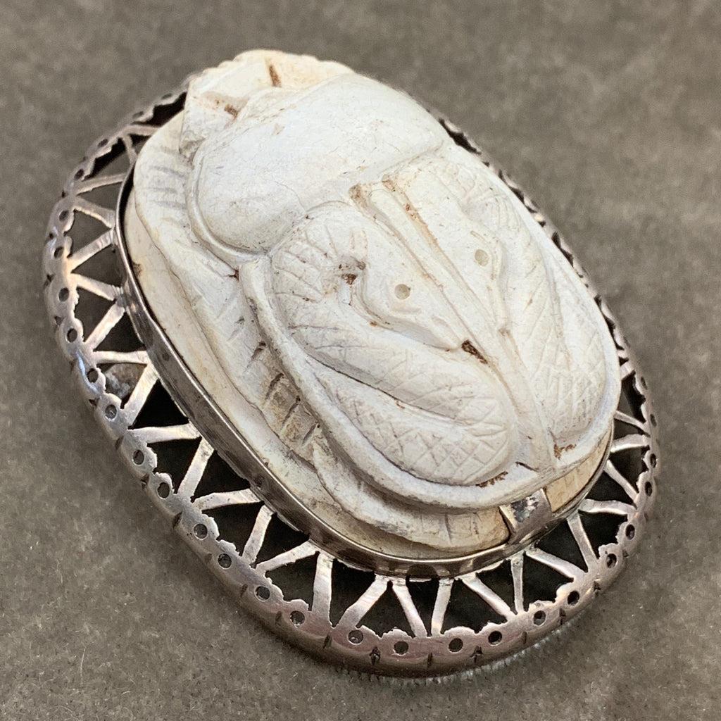 Scarab with Snakes on Pierced Sterling Base