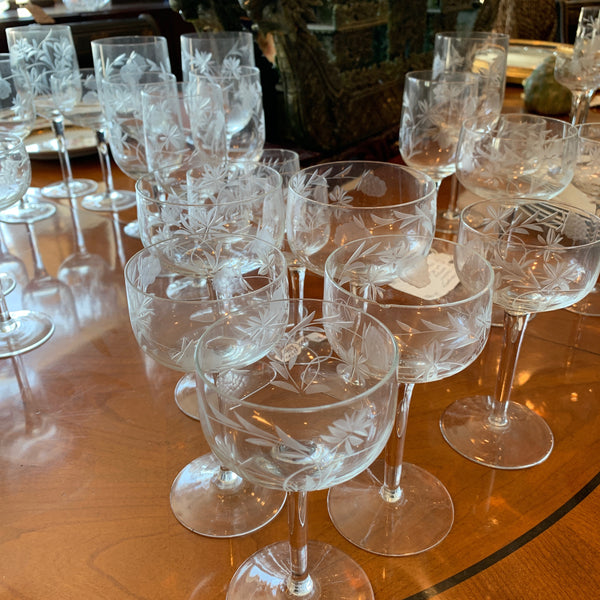 Set of 39 Etched Glassware