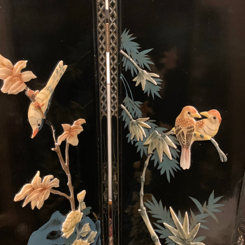 Set of 4 Black Lacquered Chinese Panels