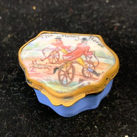 Small Blue Porcelain Box, The Hobby Horse