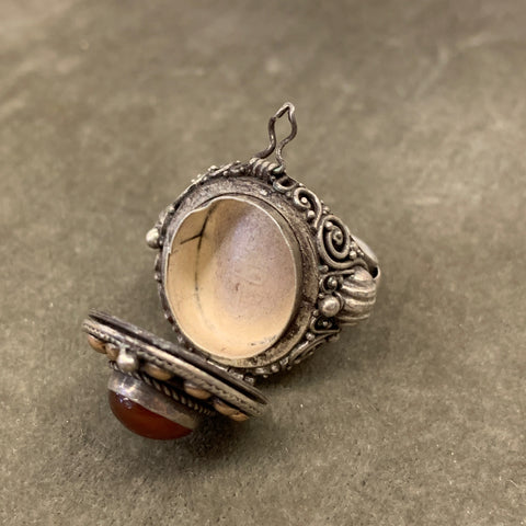 Sterling and Coral Poison Ring
